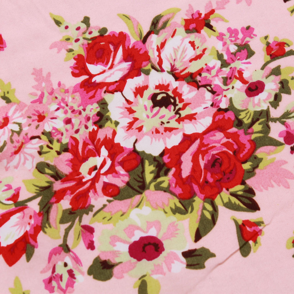 "Vintage Floral Pink, 100% Polyester Printed Peachskin, 60GSM, Approx 60"" Wide (150cm)"