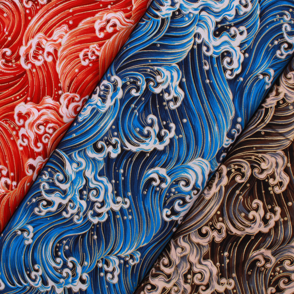"Foil Cotton Japanese Pounding Waves Fabric 60"" Wide"