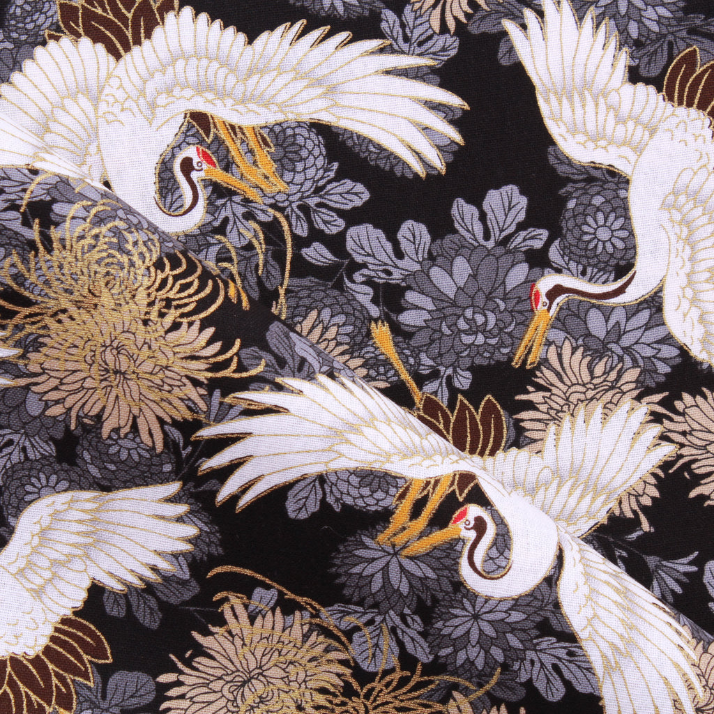 "Foil Cotton Japanese Blossoming Floral Swan Fabric 60"" Wide"