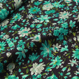 "Polyester Crepe Flower Power On Black 44"" Wide"