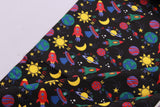 Spaceship Black Quilting Cotton, FF282-2, Lost In Space Collection, Premium Cotton
