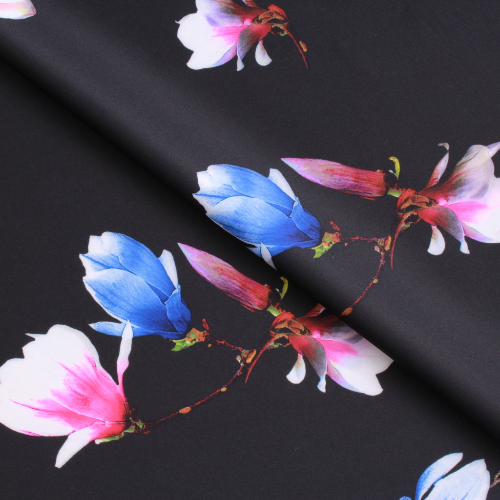 "Premium Scuba Stretch Fabric Midnight Daffodil Black 60"" Wide"