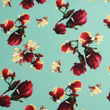 "Premium Scuba Stretch Fabric Tulips Aqua 60"" Wide"