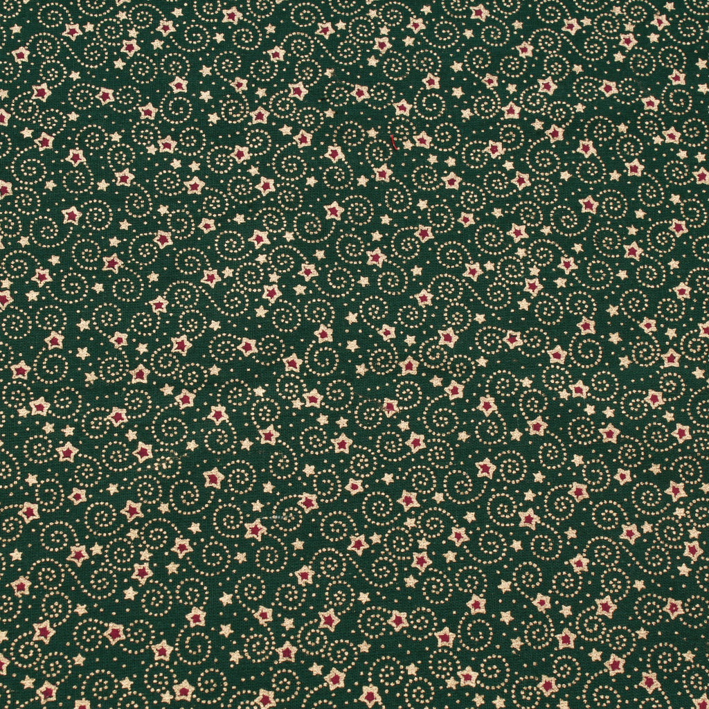 Festive Stars Green Metallic Foil Vintage Christmas Cotton