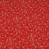 Festive Stars Red Metallic Foil Vintage Christmas Cotton