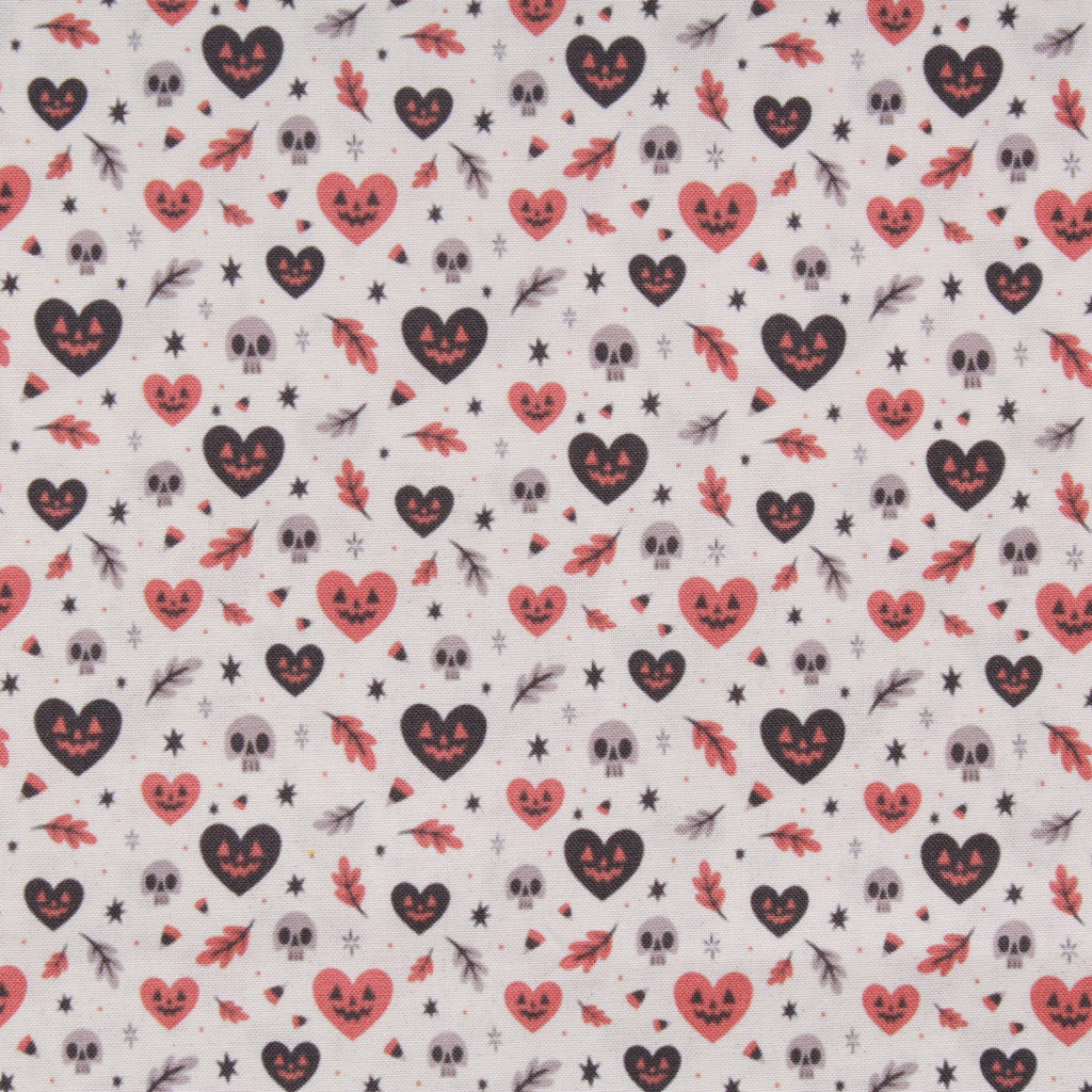 Premium Quilting Cotton, Pumpkin Hearts, Halloween Collection