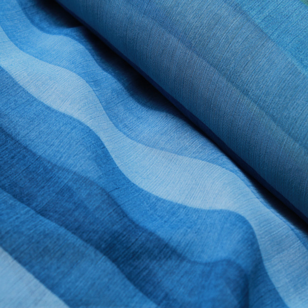 Printed Yoryu Chiffon - Blue Stripes