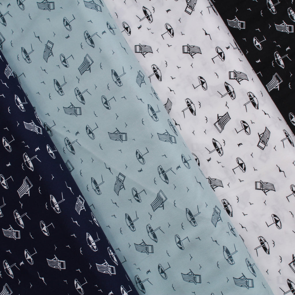 "Printed Cotton Poplin By The Beach, 100% Dyed Cotton, Approx 44"" Wide (112cm), Approx. 130GSM"