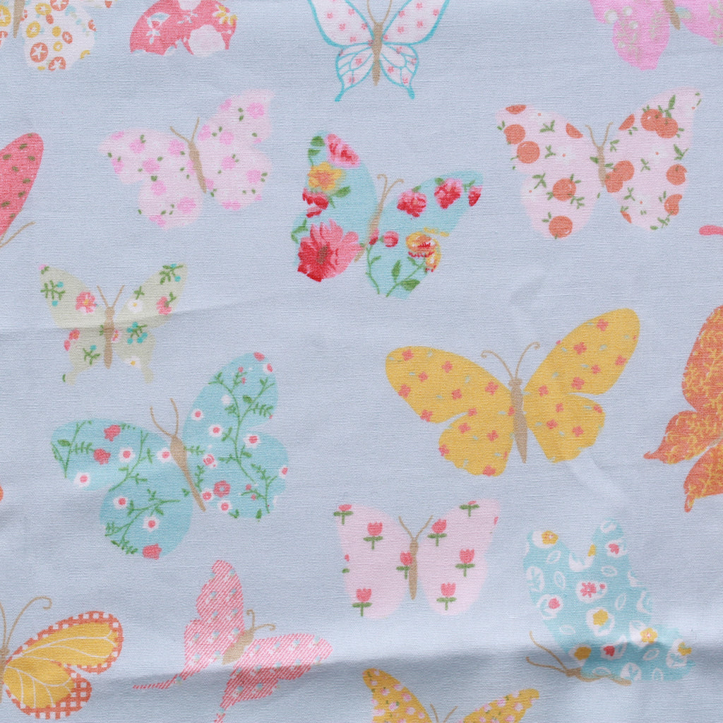 "Printed Cotton Poplin Floral Butterflies, 100% Dyed Cotton, Approx 44"" Wide (112cm)"