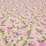 Pink Roses Floral, 100% Cotton Poplin Yellow