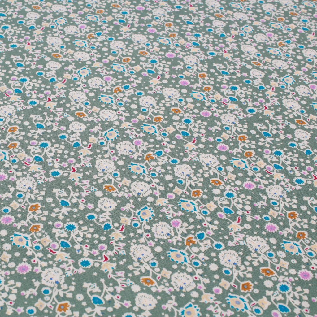 "Pop Floral, Small Flower 60"" Cotton Poplin Green"