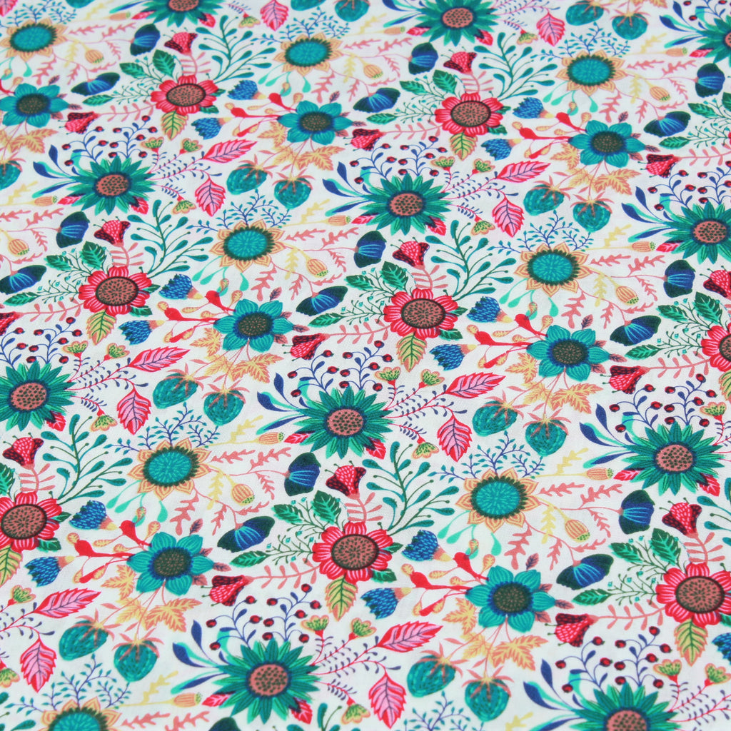 "Sunflower Garden, Multi Colour Flowers, 60"" Cotton Poplin"