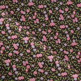"Midnight Meadow, Leaves Floral, Approx. 60"" (150cm) Wide, 100% Cotton Poplin Black"