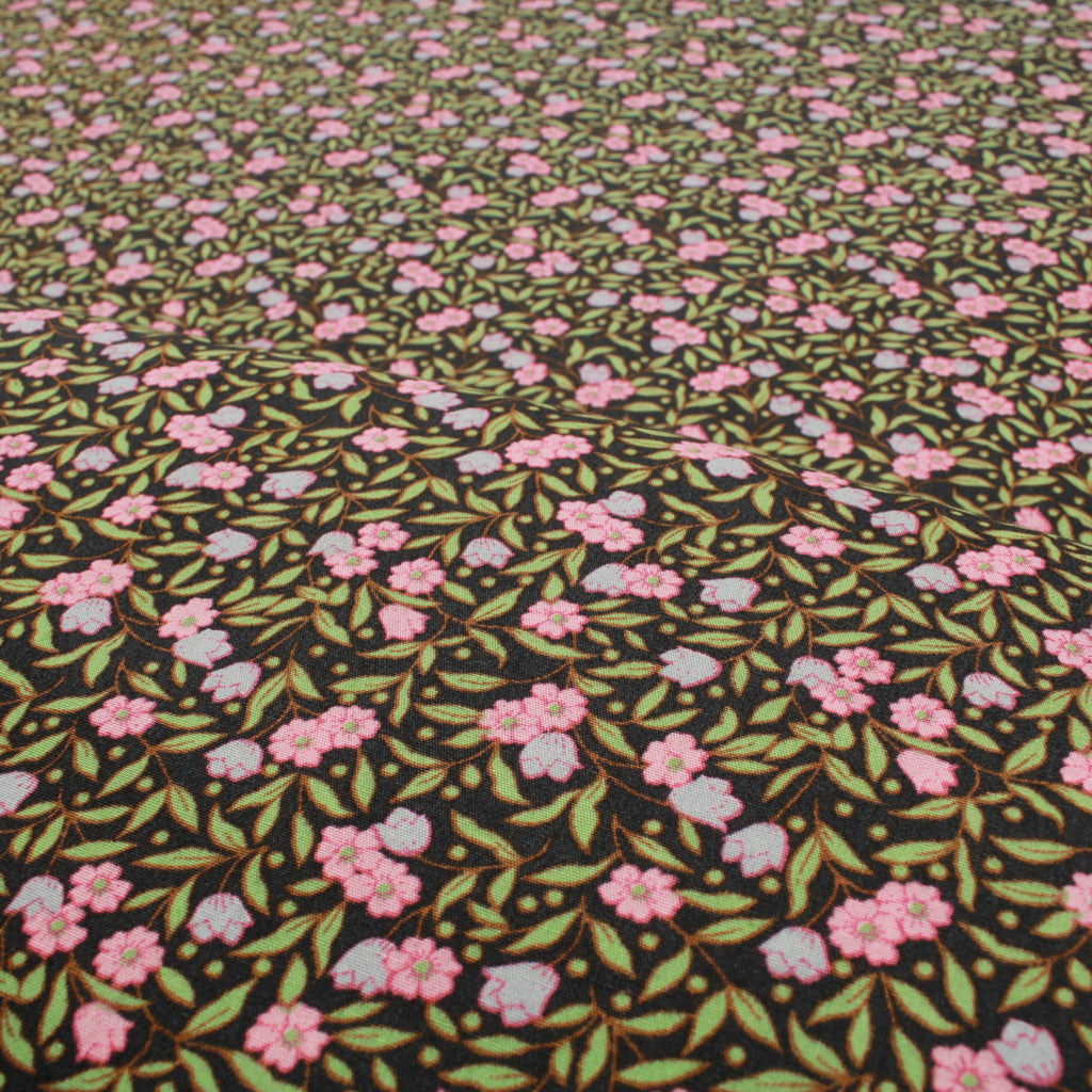 "Midnight Meadow, Leaves Floral 60"" Cotton Poplin Black"