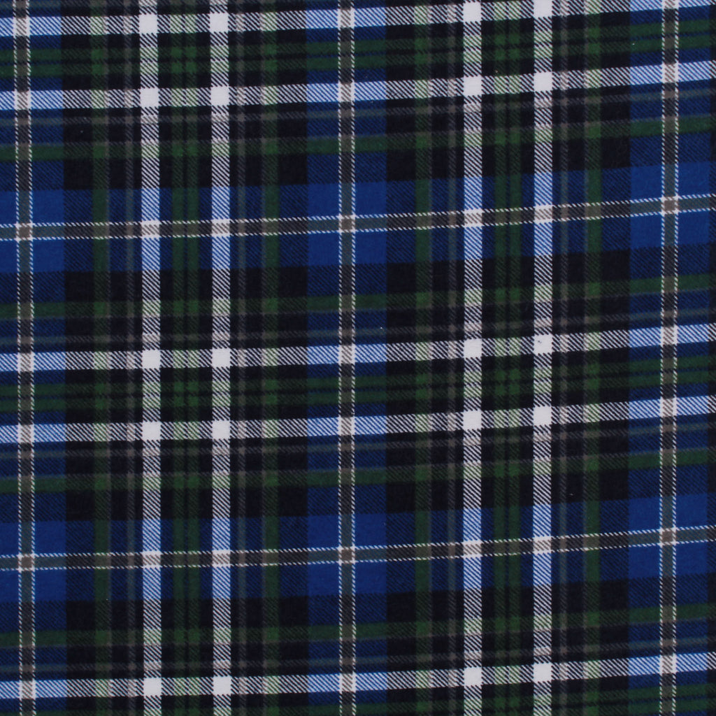 "Brushed Cotton, Tartan Print, Blue & Green, 60"" Wide"