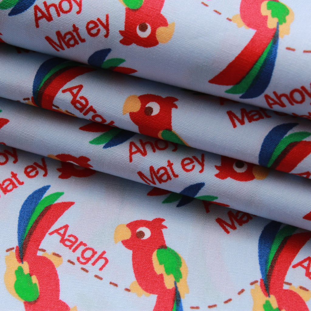 "Ahoy Matey Parrots, Premium 100% Printed Cotton Fabric. Approx. 44"" (112cm) Wide."
