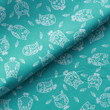 "Owls Premium 100% Printed Cotton Fabric. High Quality. Approx. 44"" (112cm) Wide. - Turquoise"