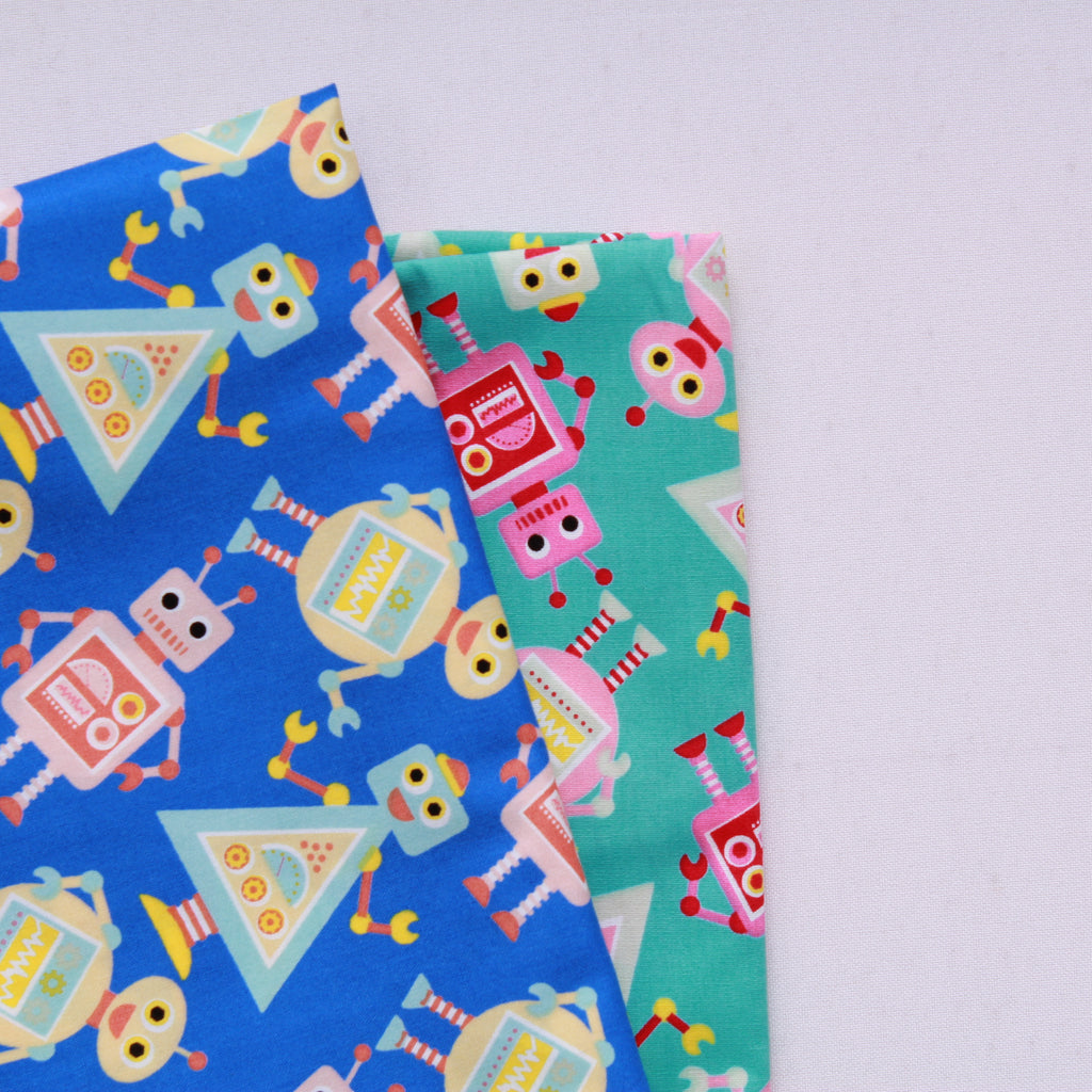 "Rampant Robots Premium 100% Printed Cotton Fabric. High Quality. Approx. 44"" (112cm) Wide."