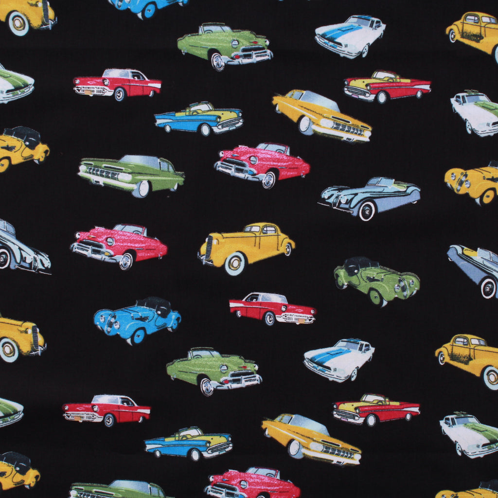 "Vintage Cars Premium 100% Printed Cotton Fabric. High Quality. Approx. 44"" (112cm) Wide."