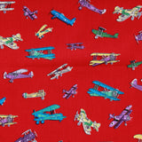 "Aeroplanes Premium 100% Printed Cotton Fabric. High Quality. Approx. 44"" (112cm) Wide."