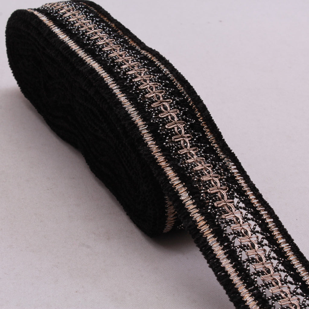 Embroidered Lace, Velvet, Black, 100% Polyester