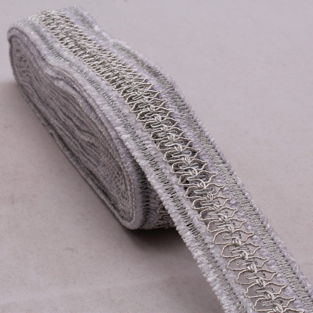 Embroidered Lace, Velvet, Silver, 100% Polyester