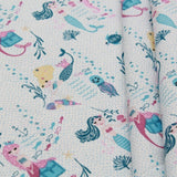 Mermaids Themed Quilting Cotton, Under the Sea Collection, Pink & Blue, FF312.1