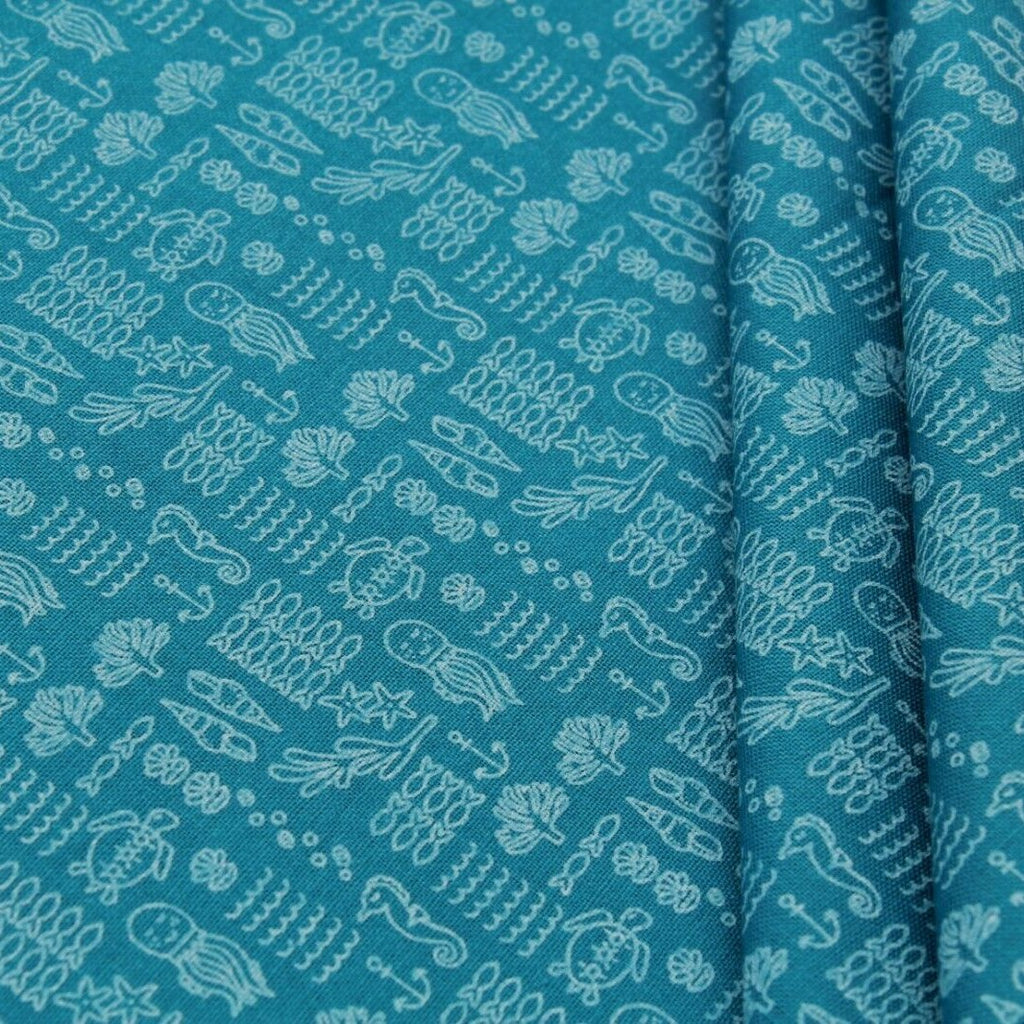 Under the Sea Quilting Cotton, Paste Print, Pink & Blue, FF316.1