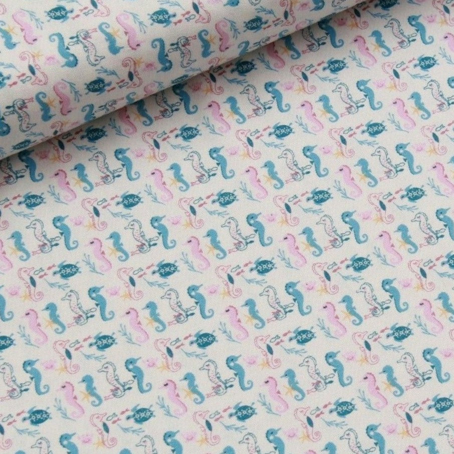 Seahorses Themed Quilting Cotton, Under the Sea Collection, Pink & Blue, FF315.1