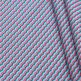 Waves Themed Quilting Cotton, Under the Sea Collection, Blue & Pink, FF314.1