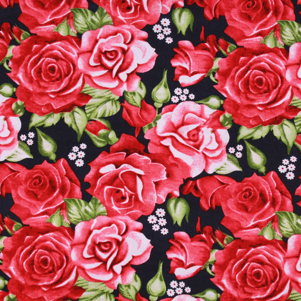 Vintage Daisy Roses Red Premium Cotton Poplin