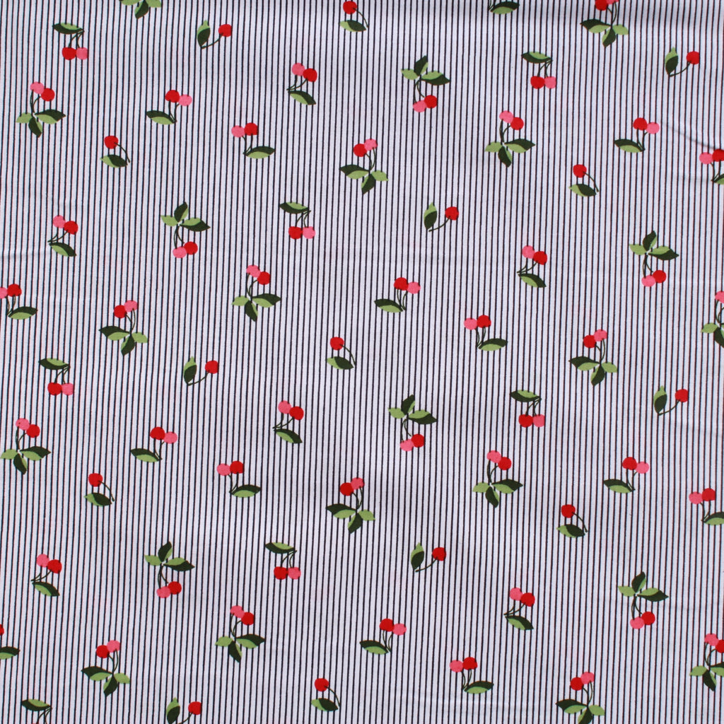 Vintage Pinstripe Cherries White Premium Cotton Poplin