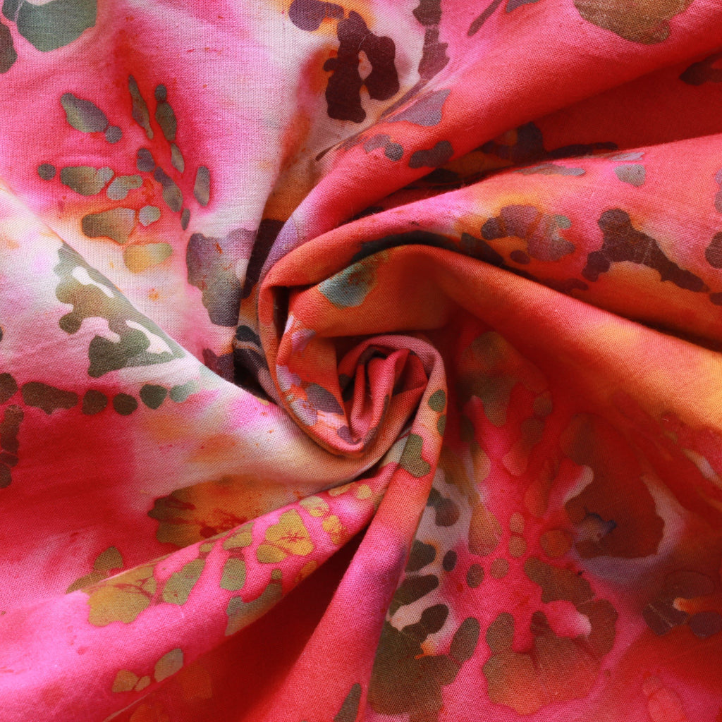 Hand Printed Floral Batik Multi Orange Fabric, Premium Cotton, 44""