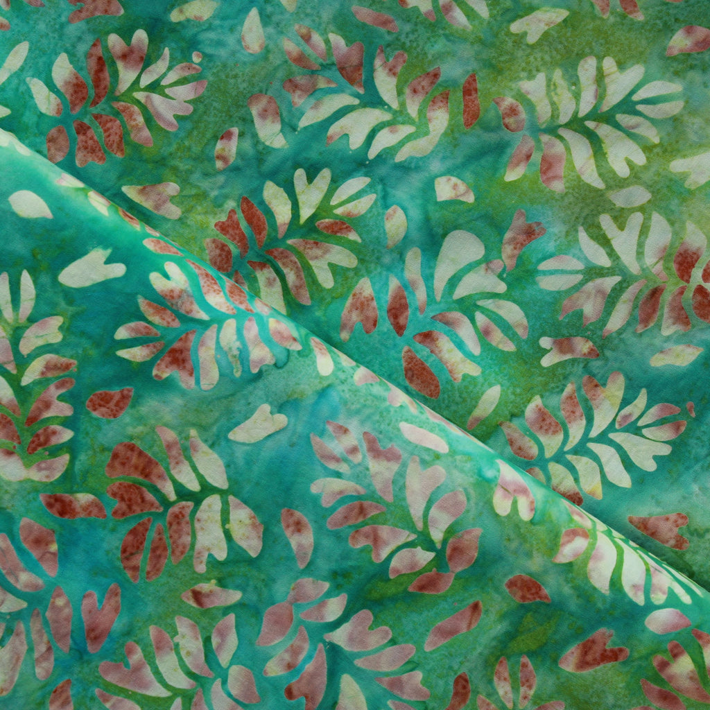 Bali Indonesian Batik, Green Banana Leaf Print, 44""