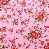 100% Polyester Red Rose on Pink Digital Print Satin