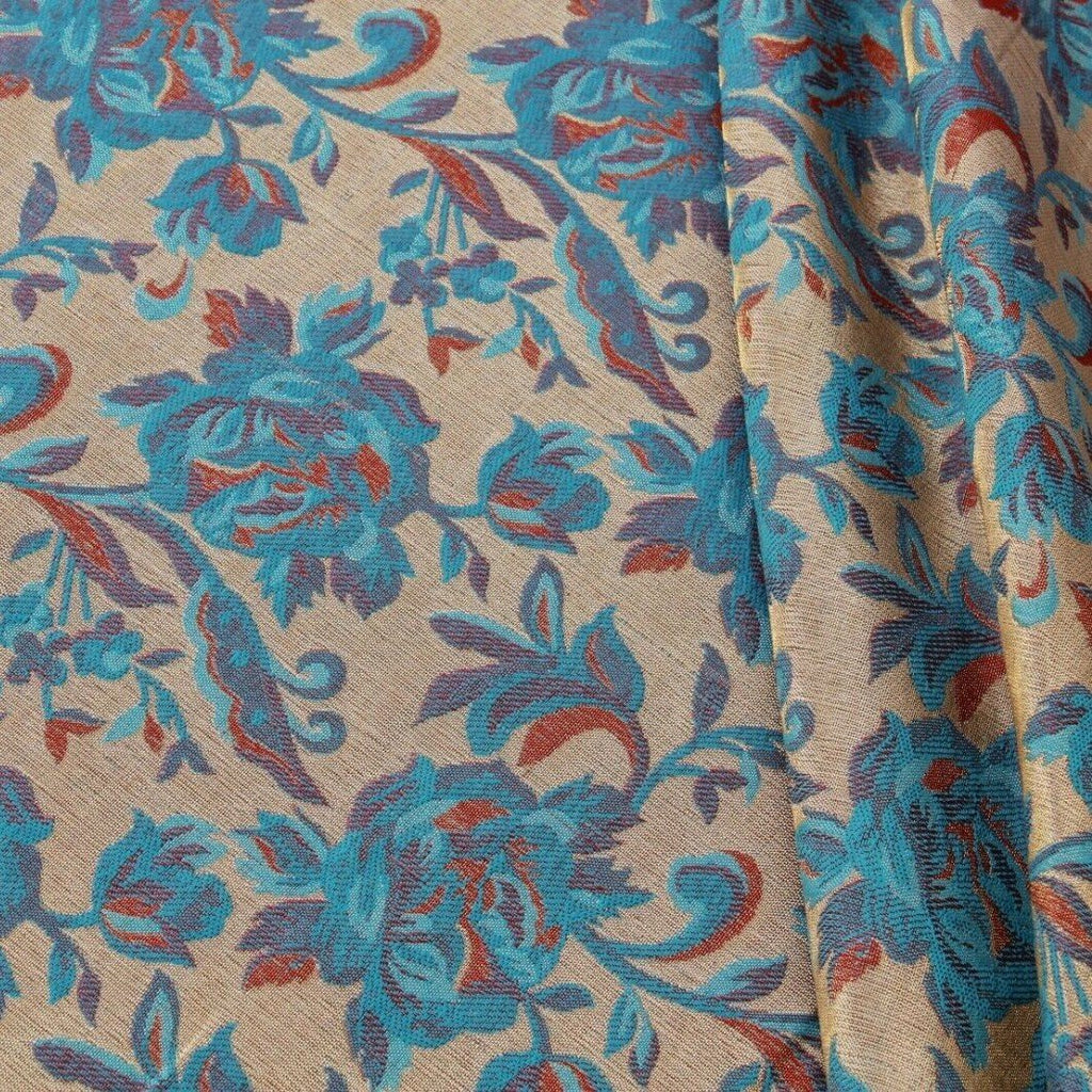 Shimmer Brocade Jacquard Fabric Traditional Rose Vines Blue