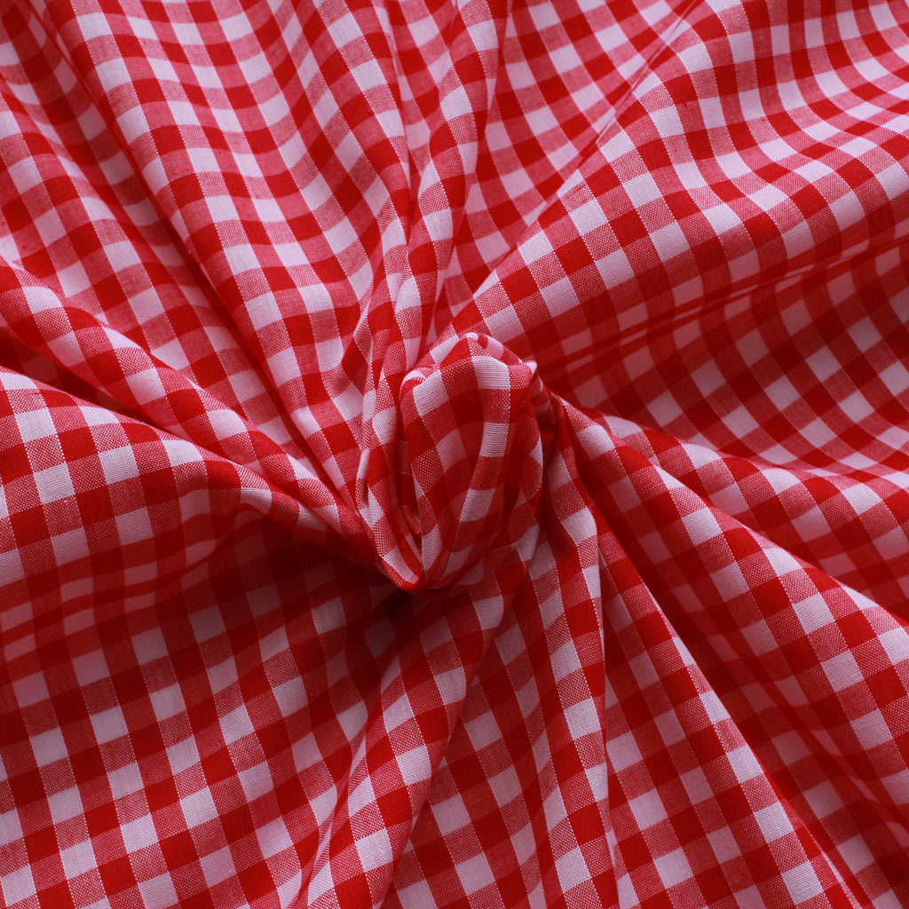 "1/4"" Small Gingham Polycotton Fabric - 65% Polyester 35% Cotton - Red"