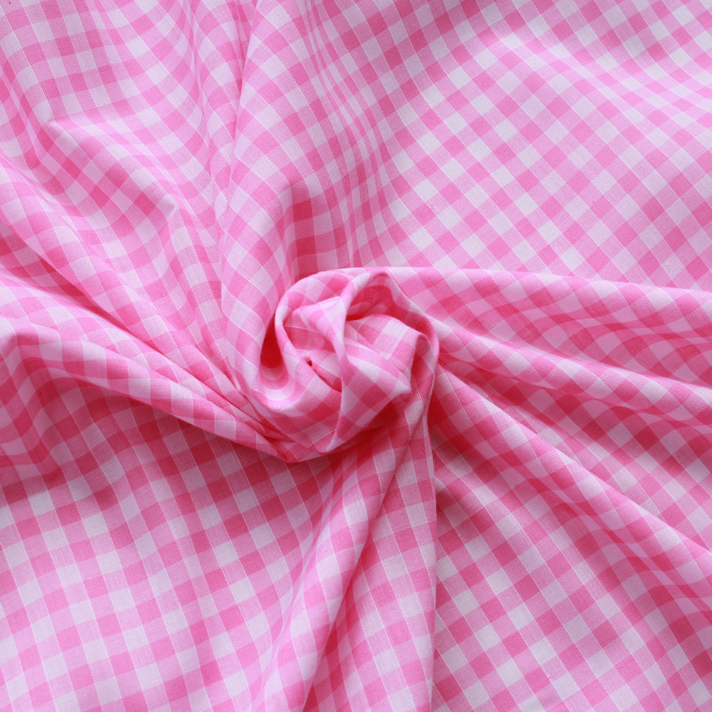 "1/4"" Small Gingham Polycotton Fabric - 65% Polyester 35% Cotton - Pink"