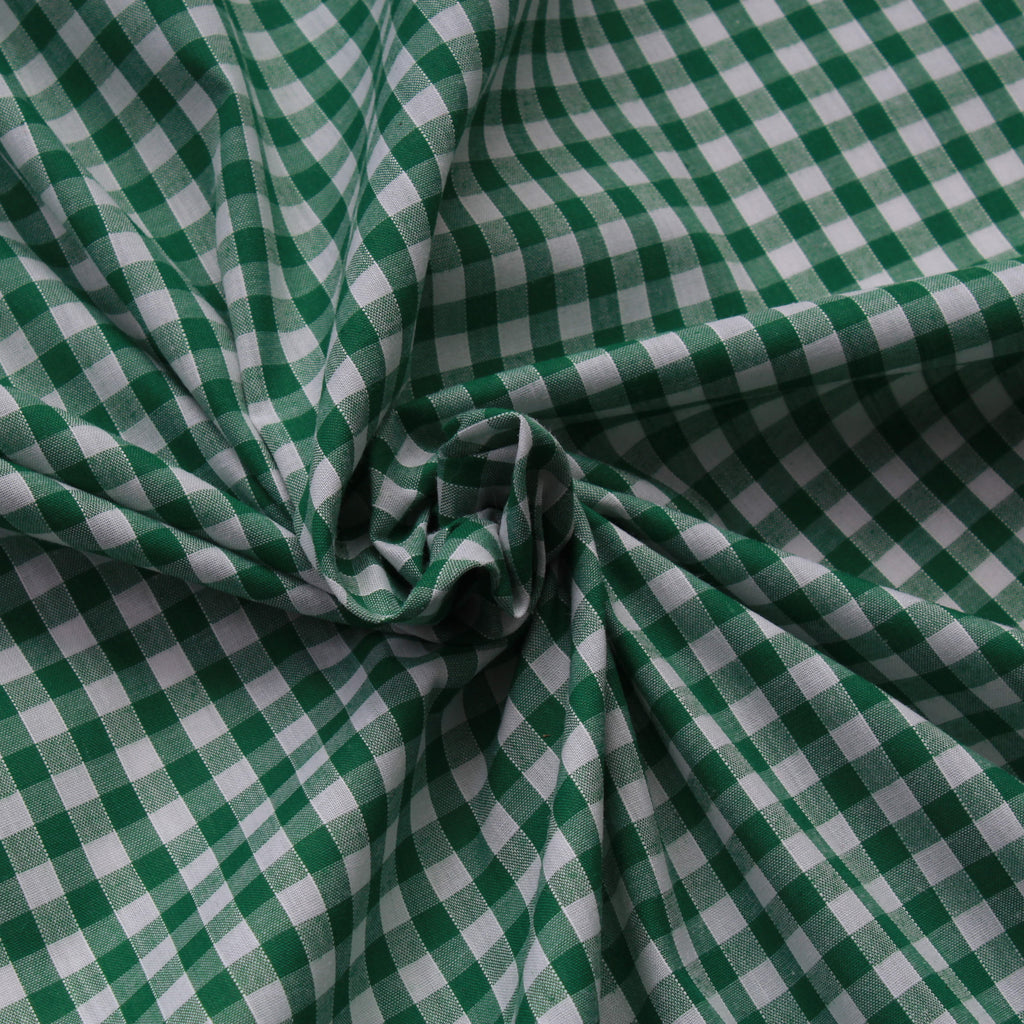 "1/4"" Small Gingham Polycotton Fabric - 65% Polyester 35% Cotton - Green"