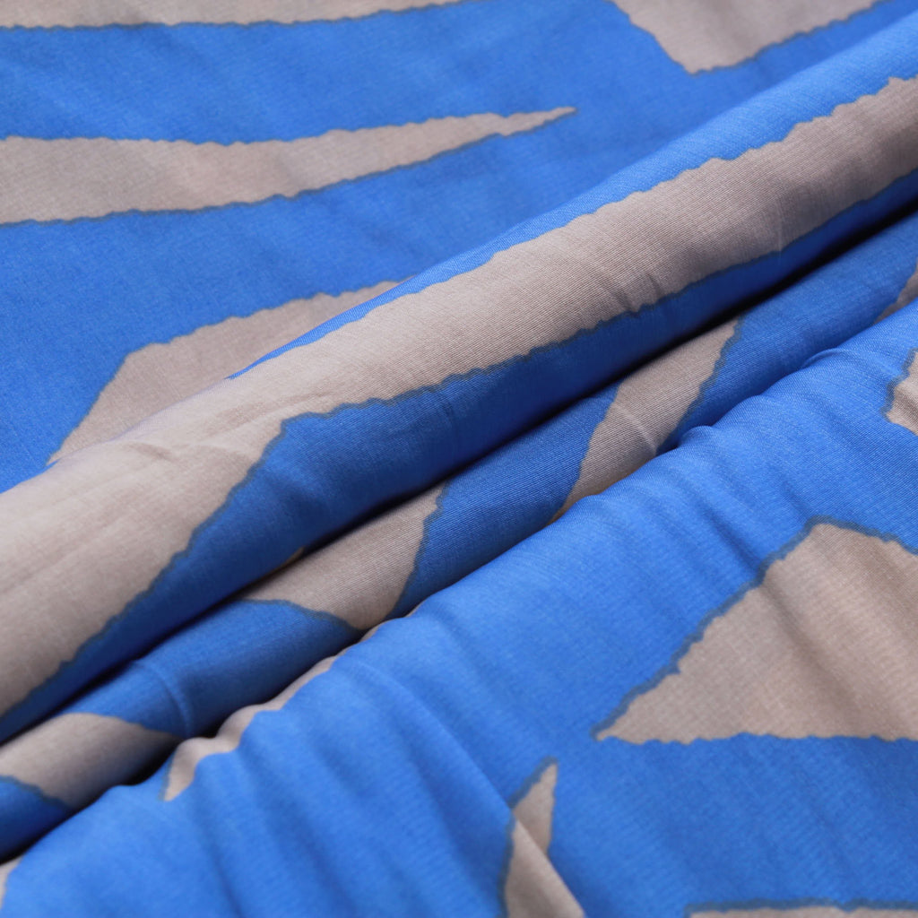 "Blue Stripes And Chevrons On Grey, 100% Polyester Printed Peachskin, 60GSM, Approx 60"" Wide (150cm)"
