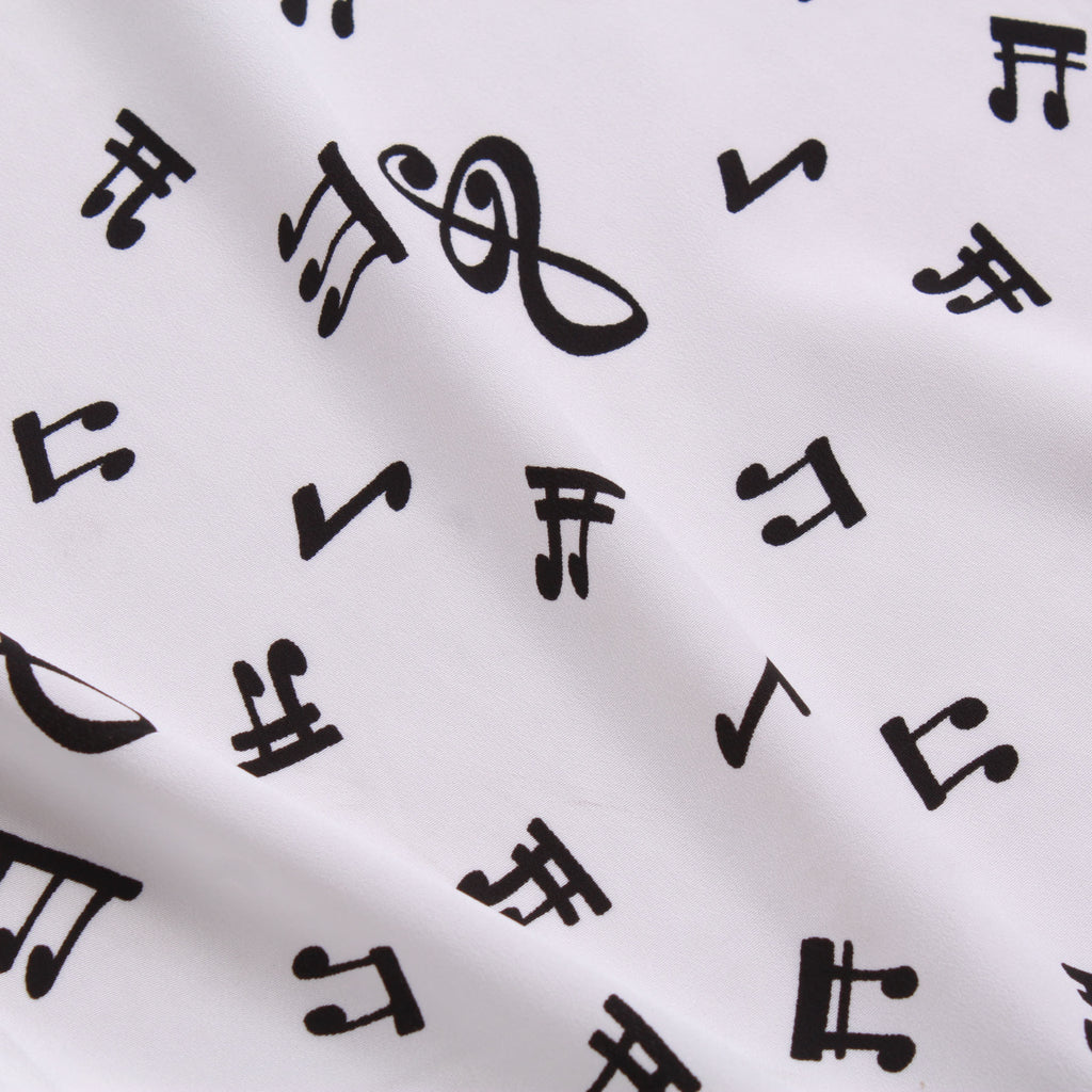"Black On White Musical Notes, 100% Printed Polyester Peachskin, 60GSM, 60"" Wide"