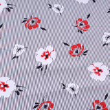 "Pinstripe Poppy Premium Printed Cotton, Approx. 44"" (112cm) Wide, 130GSM"