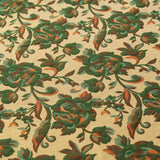 Shimmer Brocade Jacquard Fabric Traditional Rose Vines Green