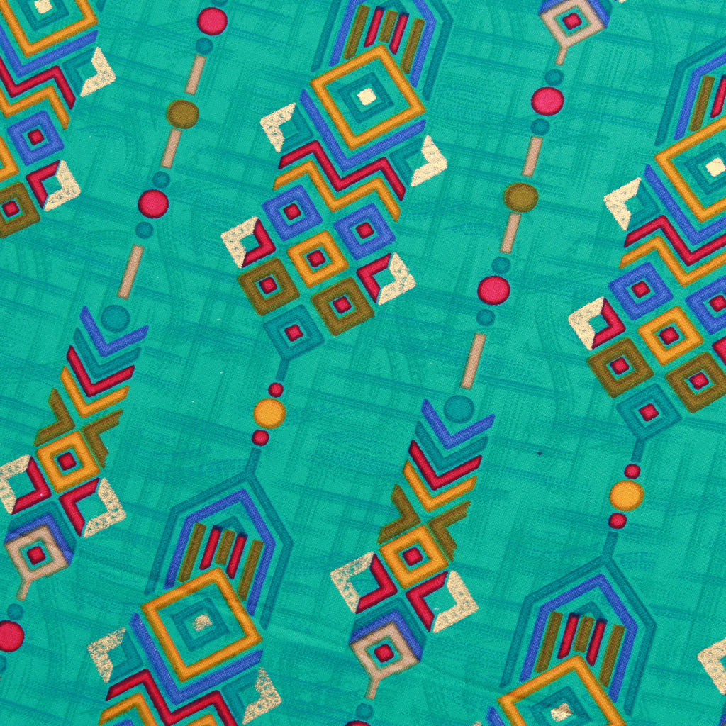 "Rayon Fabric, Native Blocks, Foil Print, Spring/Summer, 44"" Wide"