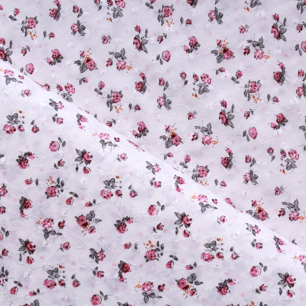"Sketch Floral, 100% Embroidered Cotton, Approx 44"" Wide (111cm)"