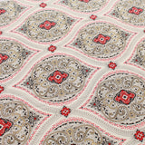 Gold Foil Lawn Cotton Ethnic Mosaic Floral, FL316-4 Red Ivory