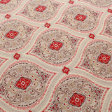 Gold Foil Lawn Cotton Ethnic Mosaic Floral, FL316-2 Red Cream