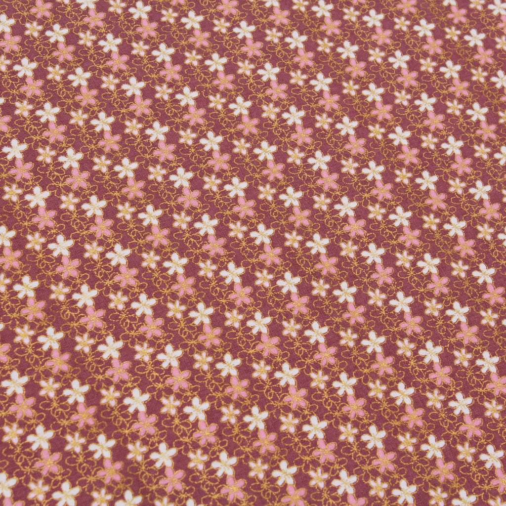 Floral Dream, Gold Foil, Oriental Floral Quilting Cotton Collection