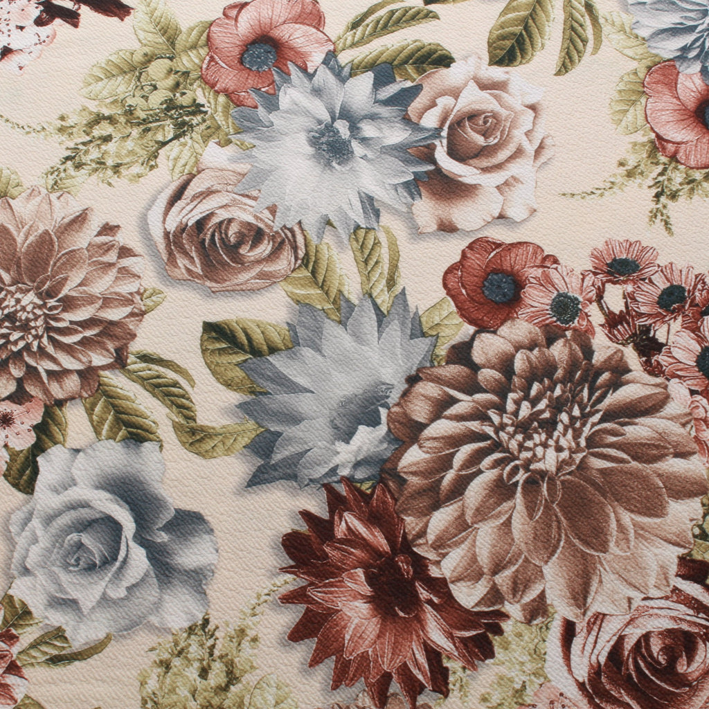 "Cream Scuba with Brown Floral 60"" Wide"