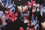 Black Scuba Fabric, Orange & Red Floral